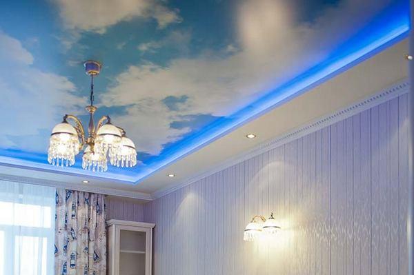 Подсветка потолка с облаками