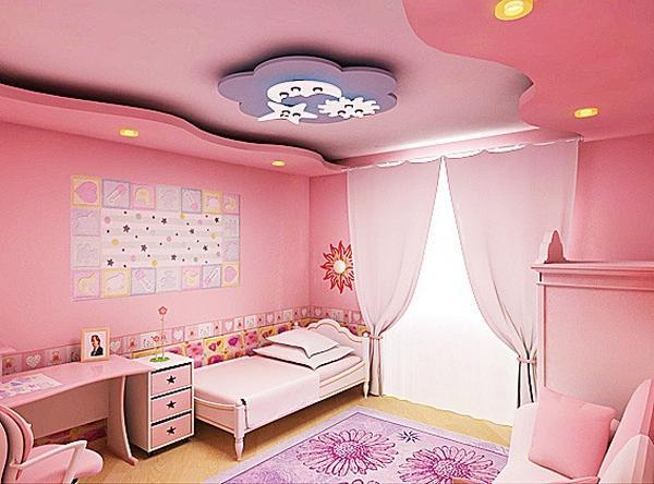 Розовая детская комната с натяжным потолком