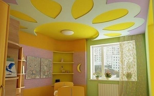 Солнце на потолке - красивый элемент детской комнаты