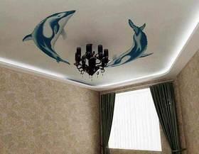 Натяжные потолки с изображением дельфинов