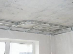 установка первого уровня гипсокартонового потолка