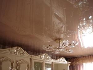 Глянцевый, коричневый потолок