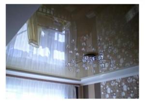 """Натяжной потолок с галогенной люстрой - """"ЭКО"""""""