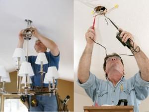Установка люстры на потолок