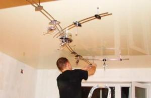 Установка приборов освещения на натяжной потолок