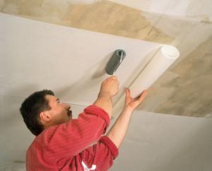 Обновление потолка  обоями
