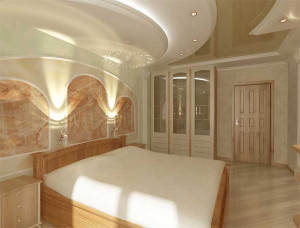 Гипсокартон и натяжное полотно в спальне