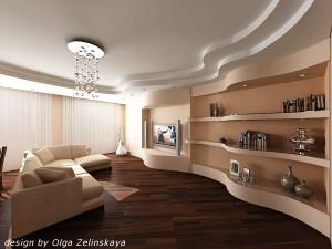 Дополнение дизайна комнаты гипсокартонными волнами
