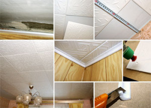 Как клеить потолок