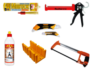 Инструменты и материалы для приклеивания плинтуса